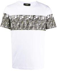 Fendi T-shirt monogrammé à imprimé camouflage - Blanc