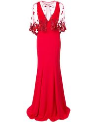 Marchesa notte Fishtail Embellished Cape Dress - Red