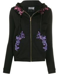 Versace Jeans Embroidered drawstring hoodie - Nero