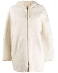 P.A.R.O.S.H. - Shearling Hooded Coat - Lyst