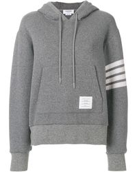 Thom Browne 4-bar Relaxed Cashmere Hoodie - Gray