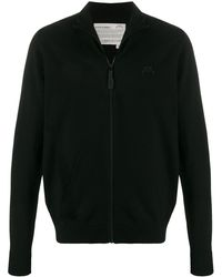 A_COLD_WALL* Zip-up Logo Embroidered Sweater - Black