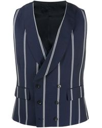 Gabriele Pasini Striped tailored waistcoat - Bleu