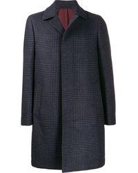 Dell'Oglio Пальто С Узором В Елочку - Синий