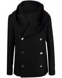 Balmain Manteau croisé en laine - Noir