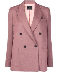 PS by Paul Smith Double Breasted Blazer - Pink