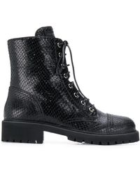 Giuseppe Zanotti Snake-embossed Leather Combat Boots - Black