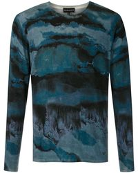 Emporio Armani Paint Effect Sweater - Blue