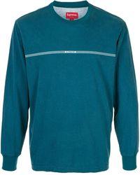 Supreme ロゴストライプ ロングtシャツ - ブルー