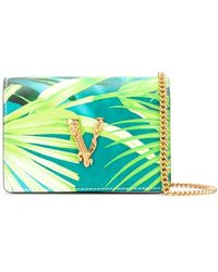 Versace Mini Jungle Print Virtus Chain Wallet - Green
