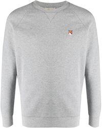 Maison Kitsuné Embroidered-logo Sweatshirt - Grey