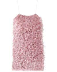 Laneus Feathered Mini Dress - Pink