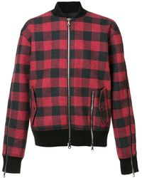 Mostly Heard Rarely Seen Plaid Bomber Jacket - Red
