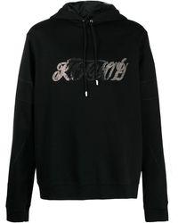 Koche Rhinestone Logo Cotton Hoodie - Black