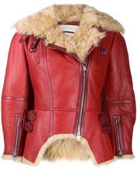 Alexander McQueen Куртка Асимметричного Кроя С Подкладкой Из Овчины - Красный