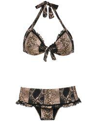 Amir Slama Printed Bikini Set - Zwart
