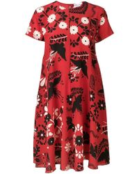 RED Valentino - Floral Print Shift Dress - Lyst