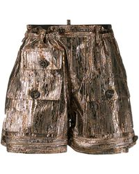 DSquared² Shorts With Multiple Pockets Gold - Metallic