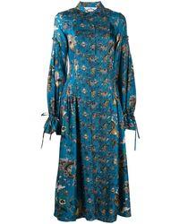 Evi Grintela Love Floral Tie-cuff Shirt Dress - Blue
