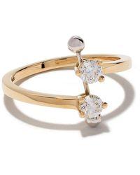 Delfina Delettrez Anillo Two In One en oro amarillo y oro blanco de 18kt con diamantes