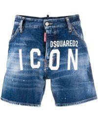 DSquared² Shorts denim ICON con logo - Blu