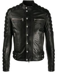 Balmain Байкерская Куртка С Тисненым Логотипом - Черный