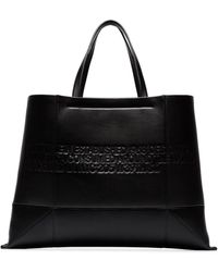 CALVIN KLEIN 205W39NYC Black Geometric Embossed Leather Tote