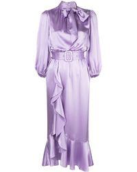 Cinq À Sept Bella Belted Silk Tie-neck Ruffle Dress - Purple