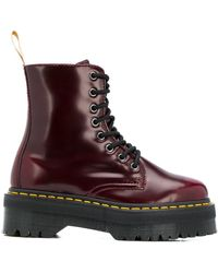 Dr. Martens Leather Lace-up Boots - Red