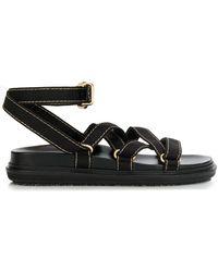 Marni Sandalen mit Ziernähten - Schwarz