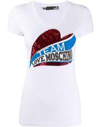 Love Moschino スパンコールロゴ Tシャツ - ホワイト
