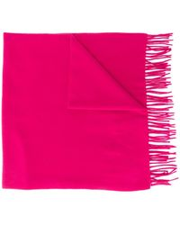 Moncler フリンジ ロゴ スカーフ - ピンク