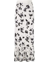 Derek Lam Floral Jacquard Knit Skirt With Pleated Hem - White