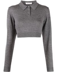 Sandy Liang Polo Switch crop - Gris