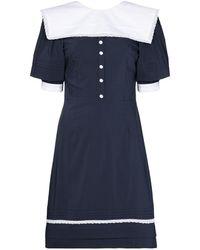 Masterpeace Sailor Collar V-back Dress - Blue