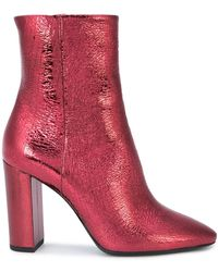 Saint Laurent Block Heel Ankle Boots - ピンク