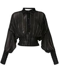 Dion Lee Shirred Stripe GGT シャツ - ブラック