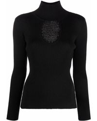 Bevza Ribbed Knit Roll Neck Sweater - Black
