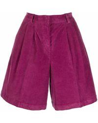 PT01 Pantalones cortos de pana acampanados - Morado