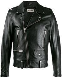 Saint Laurent Studded Slogan Biker Jacket - Черный