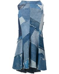 Junya Watanabe Denim Patchwork Maxi Skirt - Blue