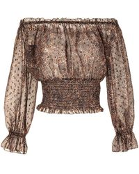 L'Agence Блузка С Открытыми Плечами И Леопардовым Принтом - Коричневый