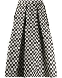 Paul & Shark Check-print A-line Skirt - Black