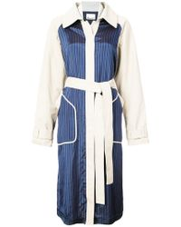 T By Alexander Wang - Two-tone Belted Coat - Lyst