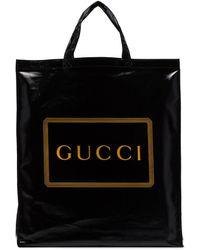 Gucci Bolso shopper con logo en contraste - Negro