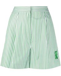 KENZO High-waisted Striped Shorts - White