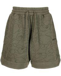 A Bathing Ape Line 1st Camo Sweat Shorts - Green