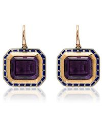 Alice Cicolini - 14k Yellow Gold Tile Amethyst And Silver Earrings - Lyst