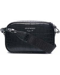 Emporio Armani Faux-leather Crocodile Effect Bag - Black