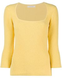 Chinti & Parker Square Neck Ribbed Knitted Top - Yellow